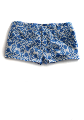 Tin Haul Shorts Ladies Blue 100% Cotton Flat Front Tapestry Ikat Print