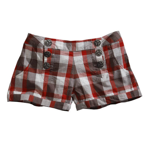 Tin Haul Womens Red 100% Cotton Buckeye Check Flat Front Shorts