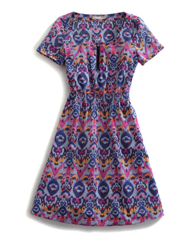 Tin Haul Dress Ladies Blue 100% Cotton Pocket S/S Aspen Ikat