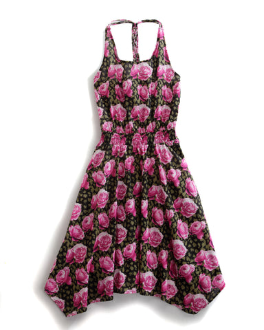 Tin Haul Dress Ladies Pink 100% Cotton S/L Camo Rose Halter