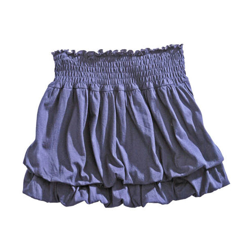 Tin Haul Womens 100% Blue Cotton Jersey Bubble Tiered Skirt