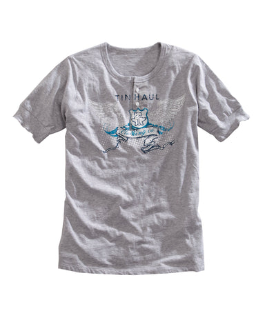 Tin Haul Mens 100% Cotton S/S Heath Grey er Henley Graphic Logo T-Shirt