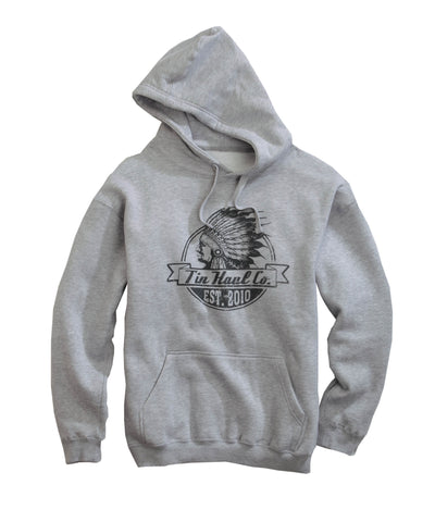 Tin Haul Mens Grey Cotton Blend Indian Head Logo L/S Hoodie