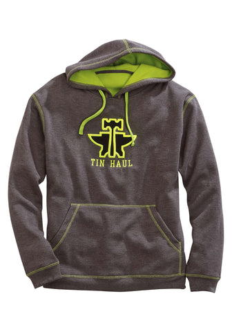 Tin Haul Mens Grey Poly/Rayon Lime Green 3D Hoodie