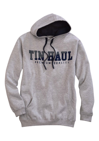 Tin Haul Fleece Mens Grey Cotton Blend Navy Logo Hoodie