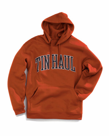 Tin Haul Mens Orange Polyester Jacket Logo Fleece Hoodie