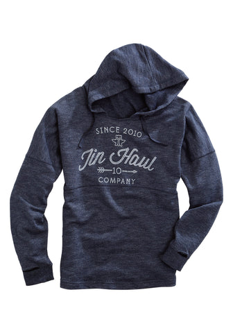 Tin Haul Womens Heather Navy Cotton Blend 2010 Arrow Hoodie