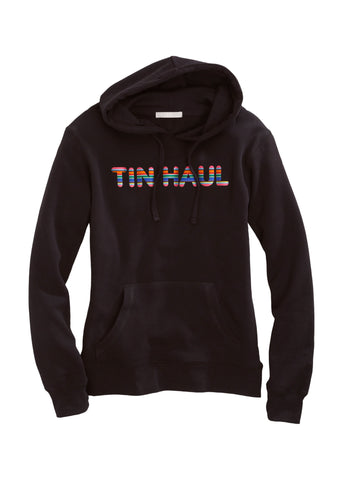 Tin Haul Womens Black Cotton Blend Serape Letters Hoodie