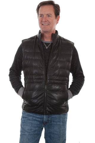 Scully Mens Black Leather Reversible Ribbed Vest