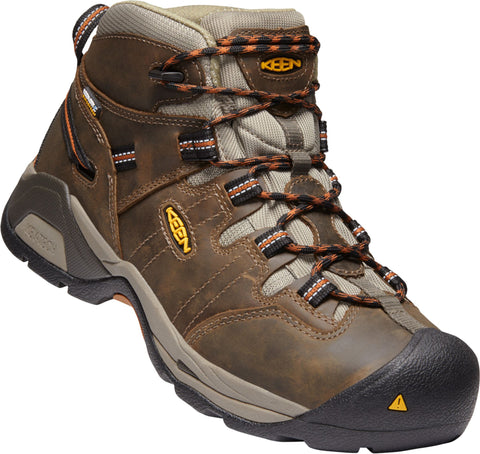 Keen Utility Olive/Brown Mens Detroit XT Md Soft WP Leather Work Boots