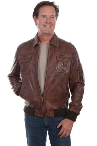 Scully Mens Brown Lamb Leather Bomber Jacket