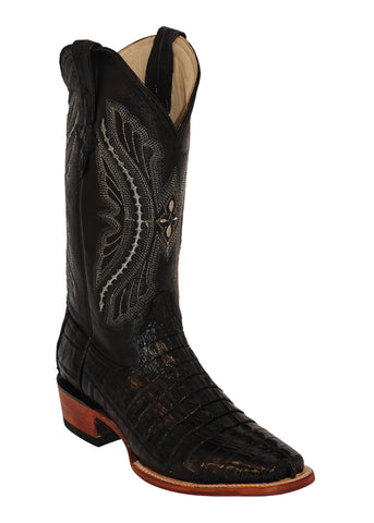Mens Ferrini Black Caiman Crocodile Tail Western Cowboy D Toe Boots