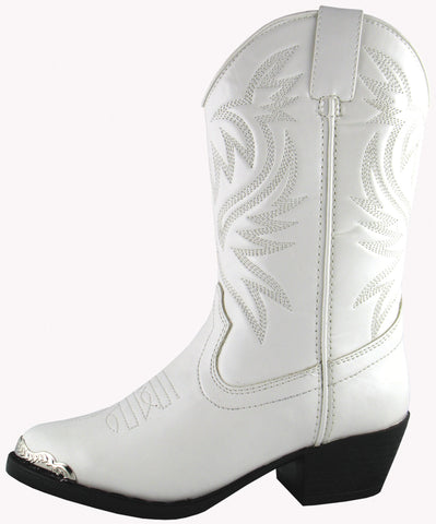 Smoky Mountain Boots Youth Boys Mesquite White Faux Leather Western 7 D