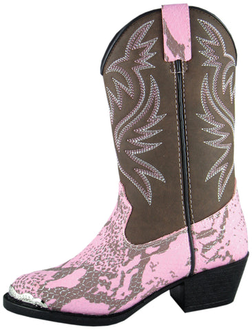 Smoky Mountain Boots Youth Girls Cody Pink Snake Print Cowboy