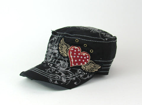 Savana Black 100% Cotton Ladies Black Hat Heart Floral Wings