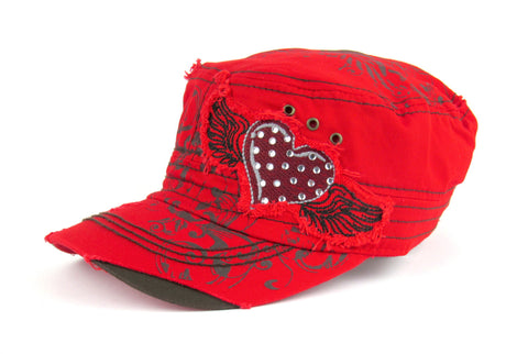 Savana Red 100% Cotton Ladies Red Hat Heart Floral Wings