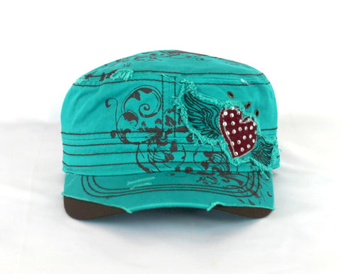 Savana Turquoise 100% Cotton Ladies Turquoise Hat Heart Floral Wings