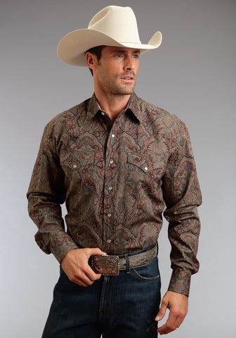 Stetson Imperial Paisley Mens Wine 100% Cotton L/S Shirt