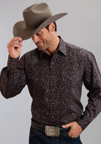 Stetson Mens Wine 100% Cotton Grandiose Paisley L/S Shirt