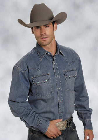 Stetson Mens Blue 100% Cotton L/S Designer Denim Snap Western Shirt