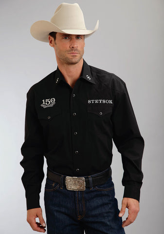 Stetson Mens Black 100% Cotton 150th Anniversary Western L/S Shirt
