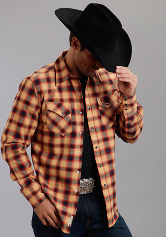 Stetson Mens Orange 100% Cotton Rugged Twill Check Western L/S Shirt