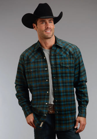 Stetson Dubliners Plaid Mens Green 100% Cotton L/S Shirt
