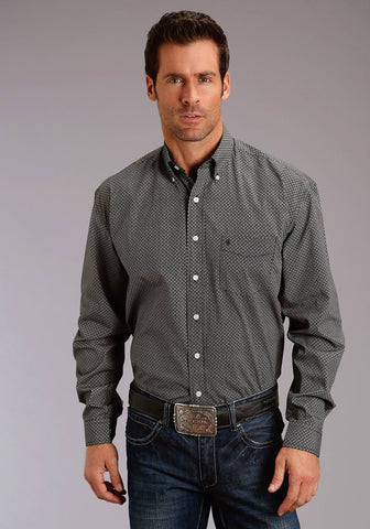 Stetson 1 Pkt Mens Black 100% Cotton 9&3 Print BD L/S Shirt
