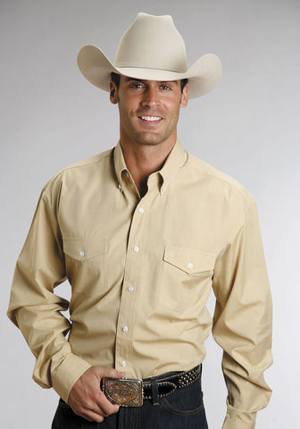 Stetson Mens 100% Cotton End on End Two Pocket L/S Gold We Yellow stern Shirt