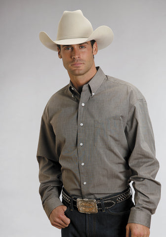 Stetson Mens Brown 100% Cotton L/S End on End 1 Pocket Western Shirt