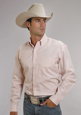 Stetson Mens Pink 1 Pocket 100% Cotton L/S End on End Western Shirt