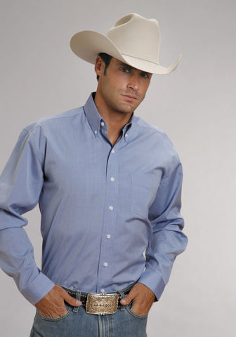 Stetson Mens Light Blue 100% Cotton L/S 1 Pocket End on End Western Shirt
