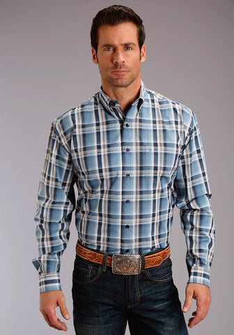 Stetson 1 Pkt Mens Blue 100% Cotton Denim Plaid BD L/S Shirt
