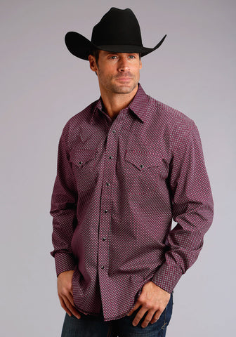Stetson Mens Red 100% Cotton Ninety One Brick Geo L/S Tall Shirt