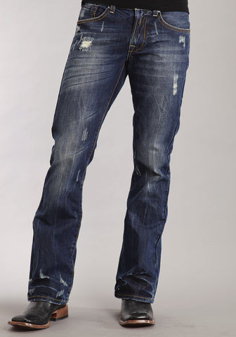 Mens Stetson Blue Cotton Blend Destruction Dark Wash Bootcut Rocks Jeans
