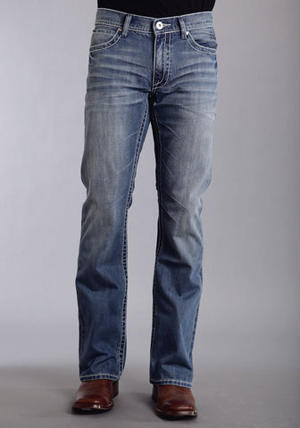 Mens Stetson Blue Cotton Blend W Deco Stitch Bootcut Rocks Fit Jeans