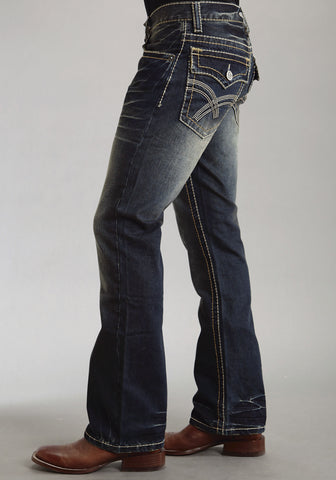 Mens Stetson Blue Cotton Blend Rocks Fit Heavy Contrast Bootcut Jeans