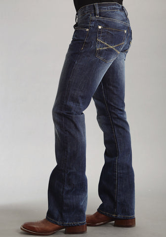 Mens Stetson Blue Cotton Blend Sandblasted Stitch Bootcut Rocks Fit Jeans