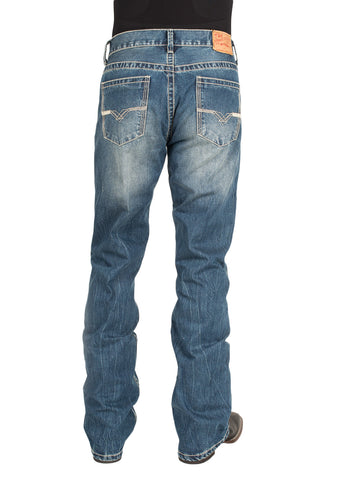 Stetson Rocks Fit Mens Blue 100% Cotton V Deco Jeans