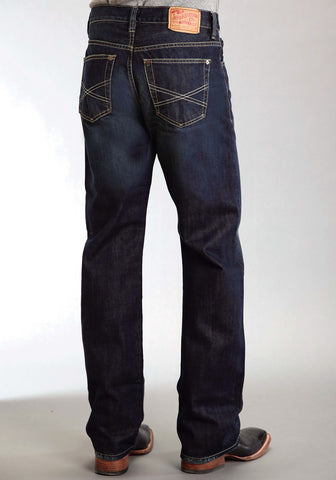 Stetson Mens Blue 100% Cotton Dark Rinse Jeans