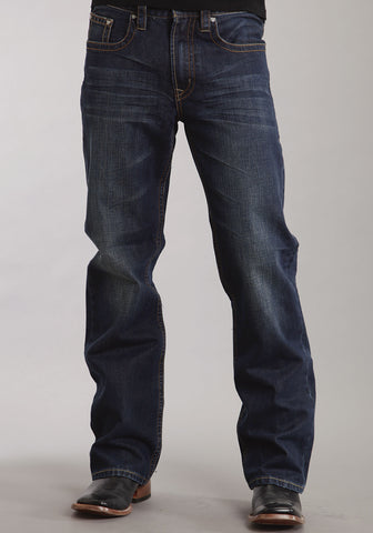 Mens Stetson Cotton Blend Dark Navy Blue Wash Modern Fit Straight Jeans