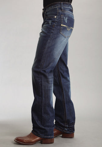 Mens Stetson Blue Cotton Blend Deco Pocket Modern Fit Straight Jeans