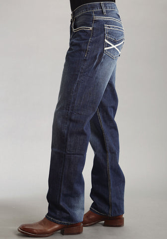 Mens Stetson Blue Cotton Blend X Heavy Stitch Straight Denim Jeans