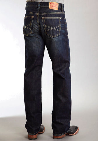 Mens Stetson Blue Cotton Blend Double Needle X Stitch Straight Modern Jeans