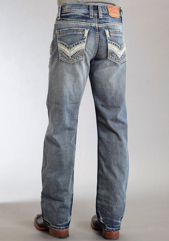 Mens Stetson Blue Cotton Blend Wrong Side Denim Straight Modern Fit Jeans
