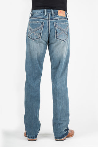 Stetson 1312 Fit Mens Blue Cotton Blend Pieced X Deco Jeans