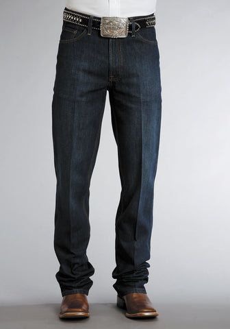 Mens Stetson Blue Cotton Blend Dark Rinse Standard Straight Leg Jeans