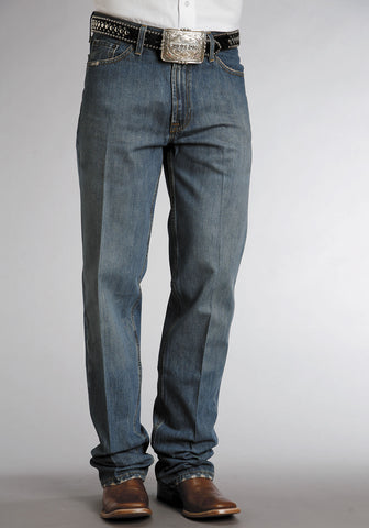 Mens Stetson Blue Cotton Blend Md Distressed Stone Wash Straight Leg Jeans