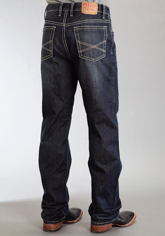 Mens Stetson Blue Cotton Blend X Stitch Straight Leg Standard Jeans