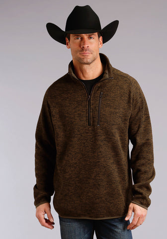 Stetson Mens Brown Polyester Bonded Pullover Jacket